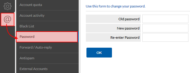 Access to the password change page